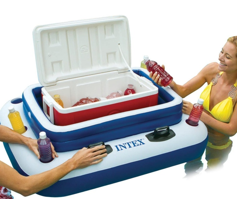 Inflatable Floating Beverage Cooler with Lid