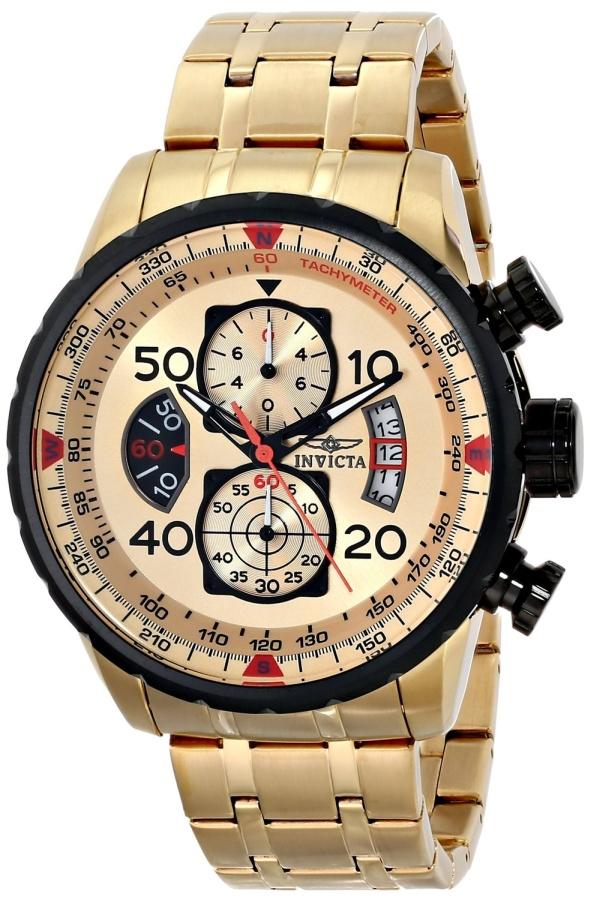 Invicta Mens Japanese Quartz Gold Watch