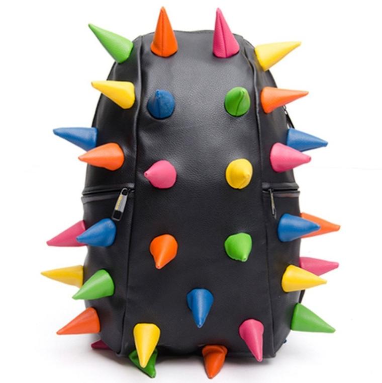 Multicolor Unisex Women Men Hedgehog Spike Punk Backpack