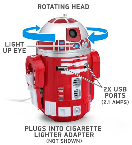 R2-D9 Red Droid Robot Figure Tablet Phone Electronic USB Car Charger