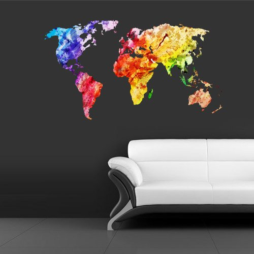 Sticker Decor Art World Map Watercolor Water Paintings