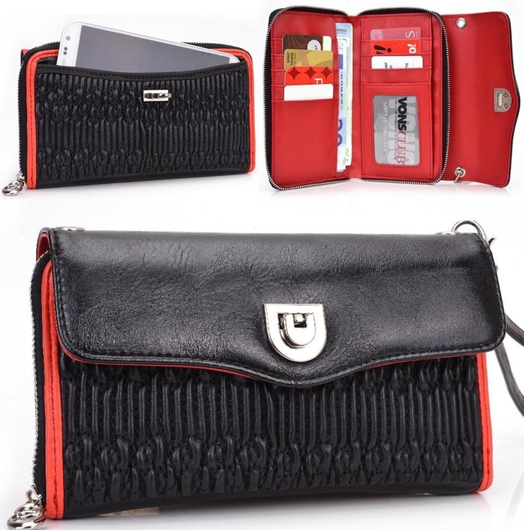 Unviersal PU Leather Wristlet Womens Wallet fits
