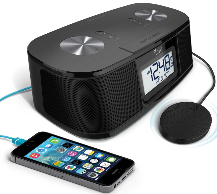 iLuv TimeShaker Micro Bluetooth FM Stereo Clock Radio with USB Charging and Pillow Shaker