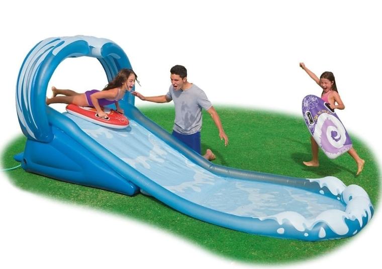 Kids Inflatable Surf N Slide Water Fun Pool Play Center Sprayer