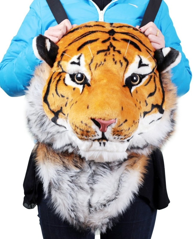 3D Tiger Head Backpack Knapsack Yellow White