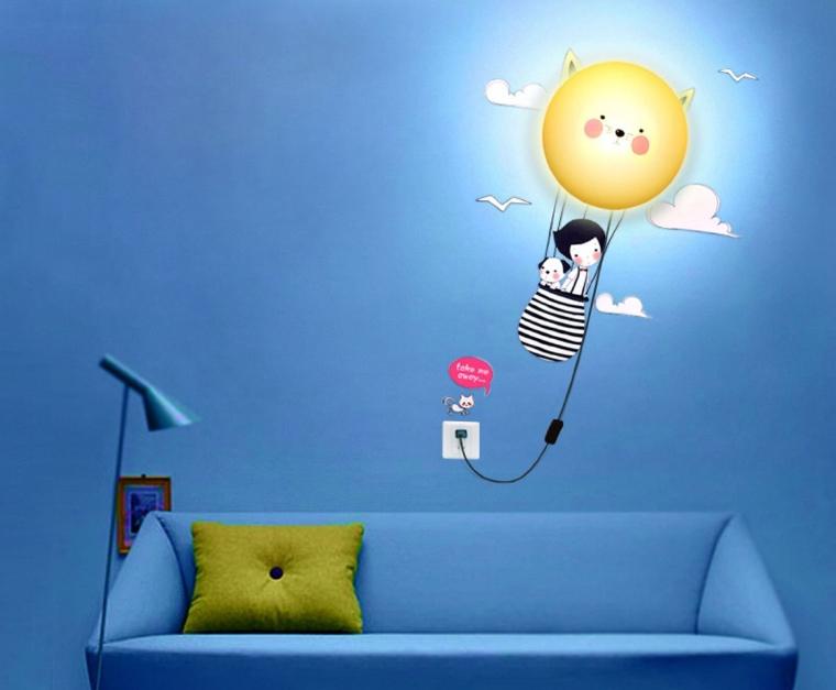 3D Wallpaper Novelty Cartoon Wall Stickers Home Room Decor Decoration LED Night Light Lamp