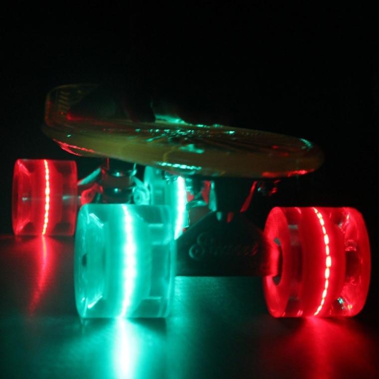 Complete Skateboard  Yellow Deck GreenRed LED Wheels