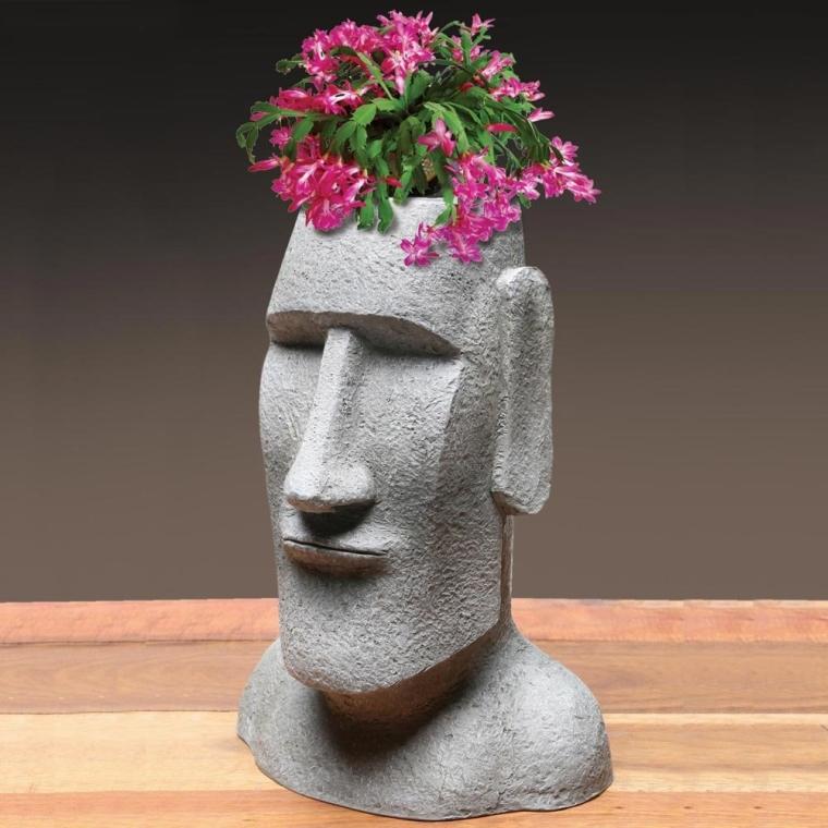 Island Ahu Akivi Moai Monolith Garden Statue Planter