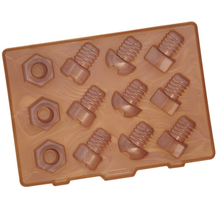 Lock in Nuts and Bolts Silicone Ice Cube Tray