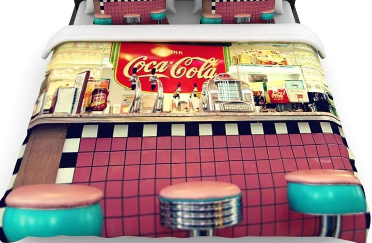 Retro Diner Coca Cola Twin Cotton Duvet Cover