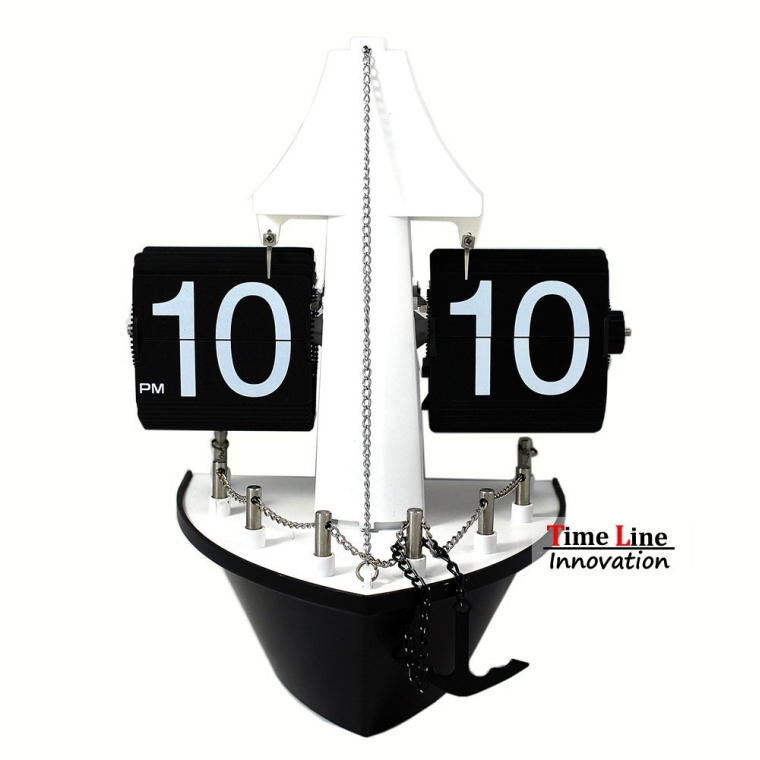 Timeline Sail Boat Bow Retro Auto Flip Clock