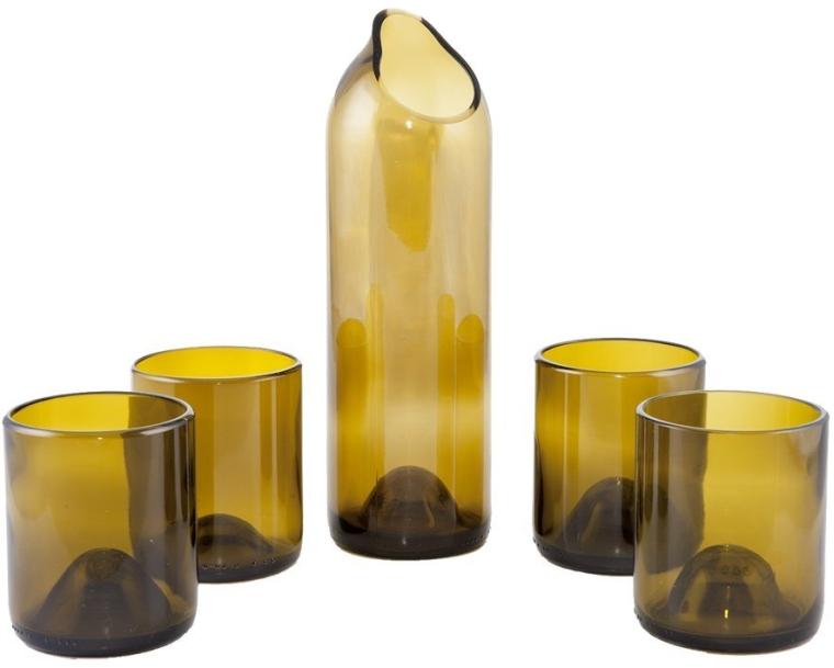 Wine Bottle Carafe Set Olive