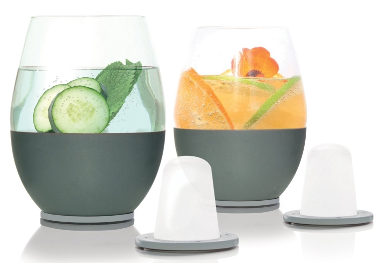 Artisan Wine Glasses and Two Magnetic 'Dimple-Shaped' Chillers