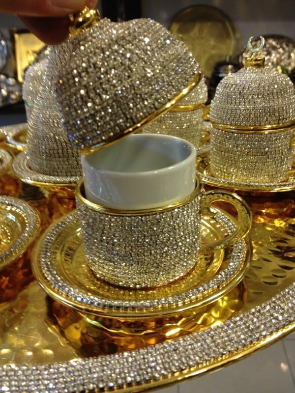 Handmade Copper Turkish Coffee Espresso Serving Cup Swarovski Crystal