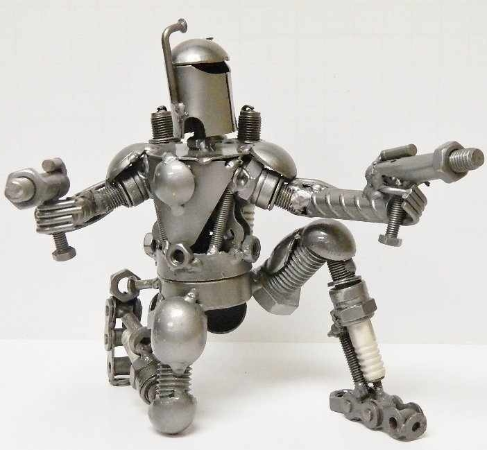Handmade From Recycled Metal Looks Like Star Wars Boba Fett Figurine
