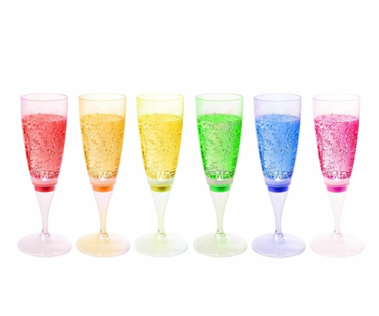 LED Waterproof Light-Up Champagne Flute Cups