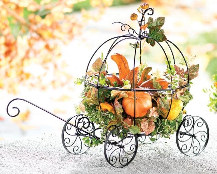 Pumpkin Coach Metal Carriage Garden Art