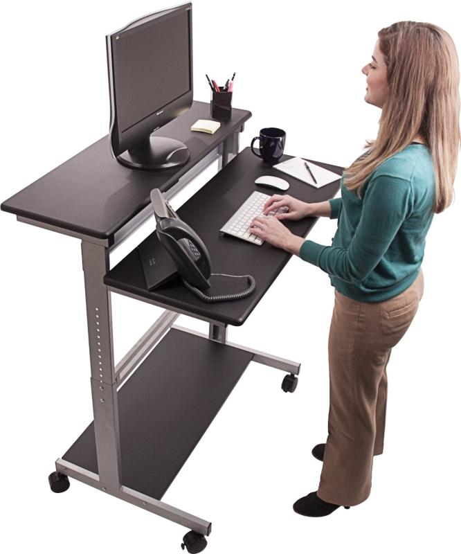 Shelves Mobile Ergonomic Stand Up Desk Computer Workstation