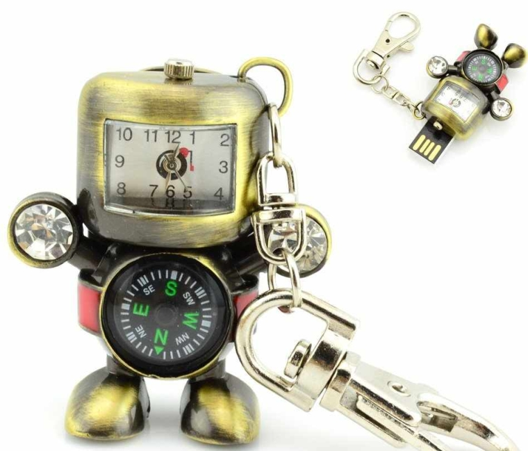 USB Flash Drive with Stainless Steel Robot Time Clock