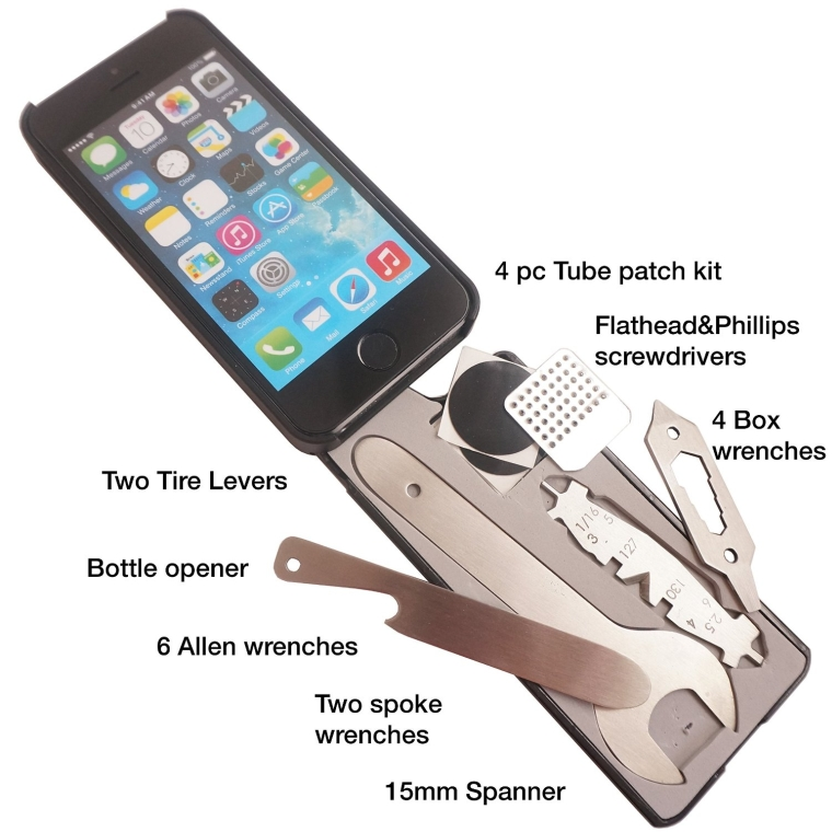 iPhone 55S Case with 18 Bike Tools Built-in