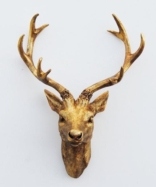 Antique Gold Resin Deer Sculpture Head