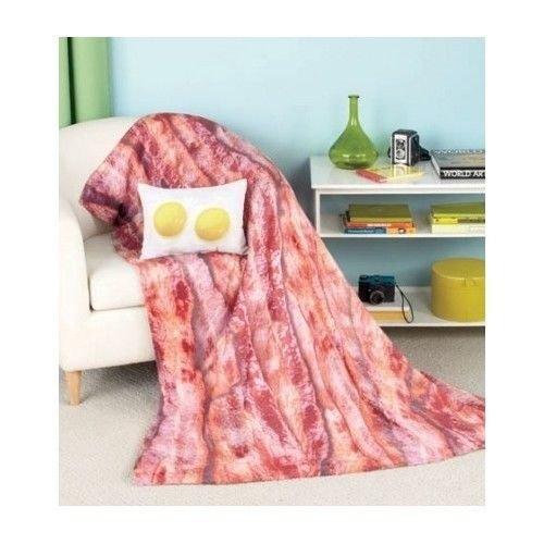 Bacon Eggs Blanket Pillow Set Throw Bedroom College