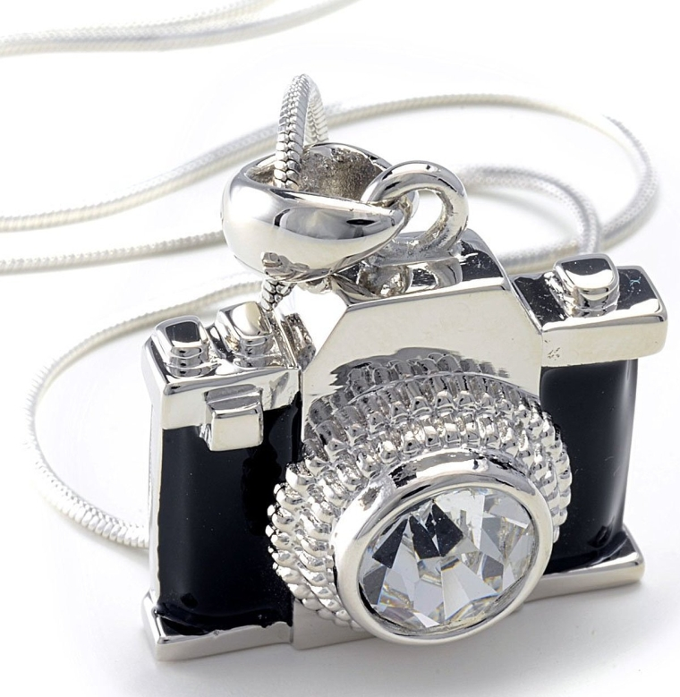 Camera Pendant Crystal Stud Necklace