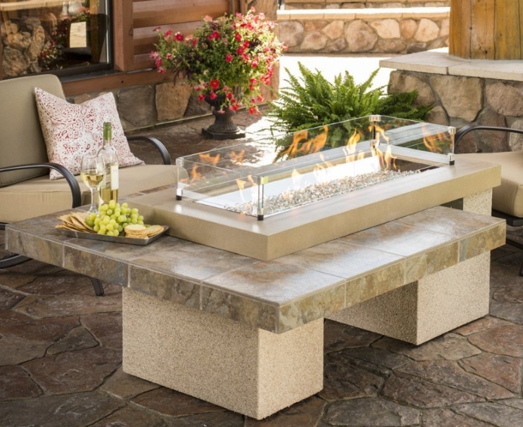 Crystal Fire Pit Table with Tile Top and Burner Color
