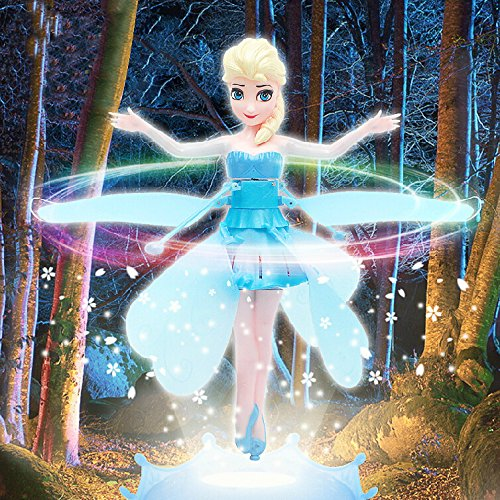 Disney Frozen Flying Fairy Barbie Doll Sparkle Princess Elsa Doll Helicopter