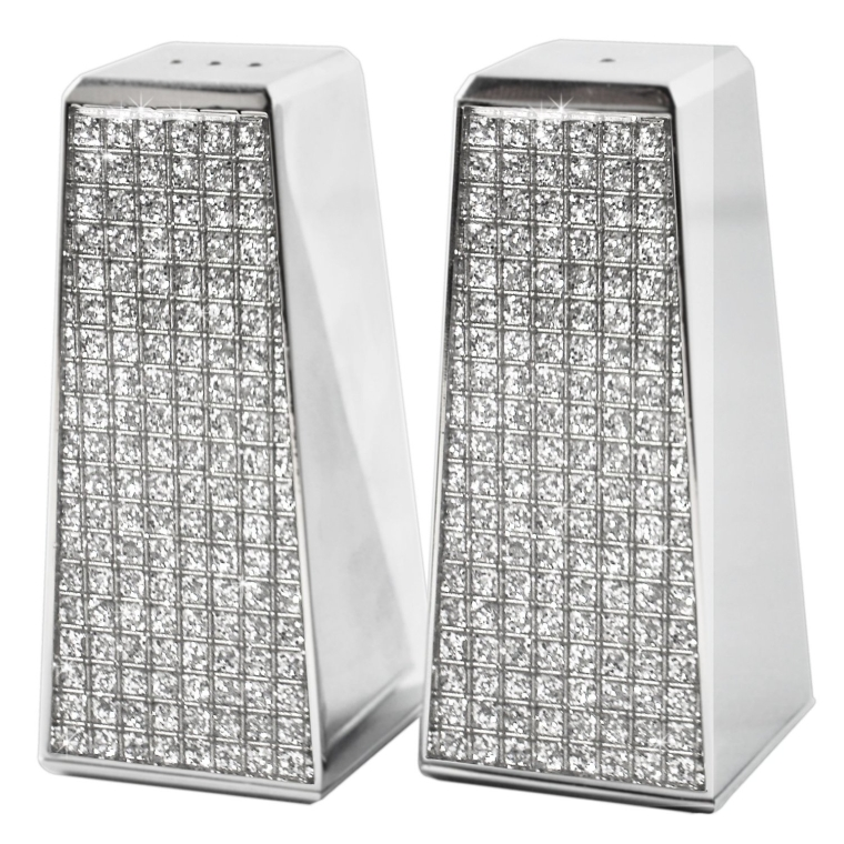 Glitter Galore Salt and Pepper Shaker Set Nickel Plated
