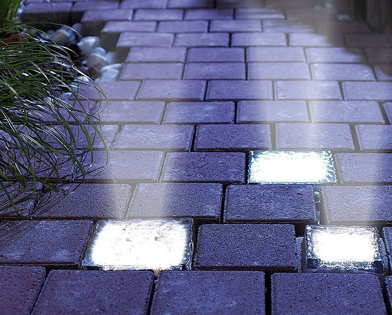 LED Waterproof Solar Power Rechargeable Path Garden Glass Brick