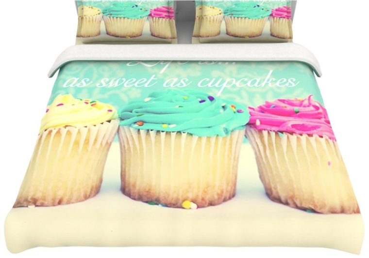 Life Is As Sweet As Cupcakes Green Queen Cotton Duvet