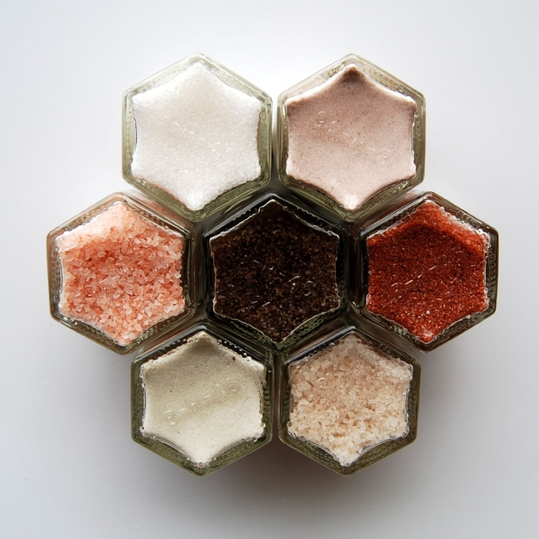 Seven Magnetic Jars Filled With Gourmet Salts