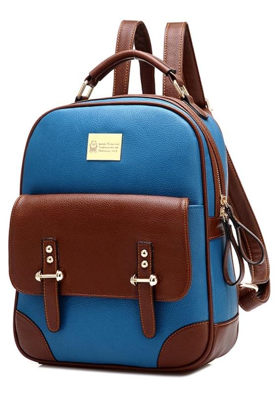 Student Leather Schoolbag Shoulder Bag Hiking Daypack Laptop Backpack