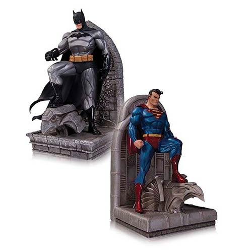 Superman and Batman Bookends Statues