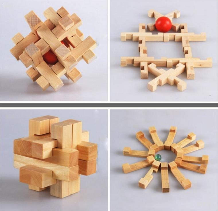 3D Wooden Cube Brain Teaser Puzzle
