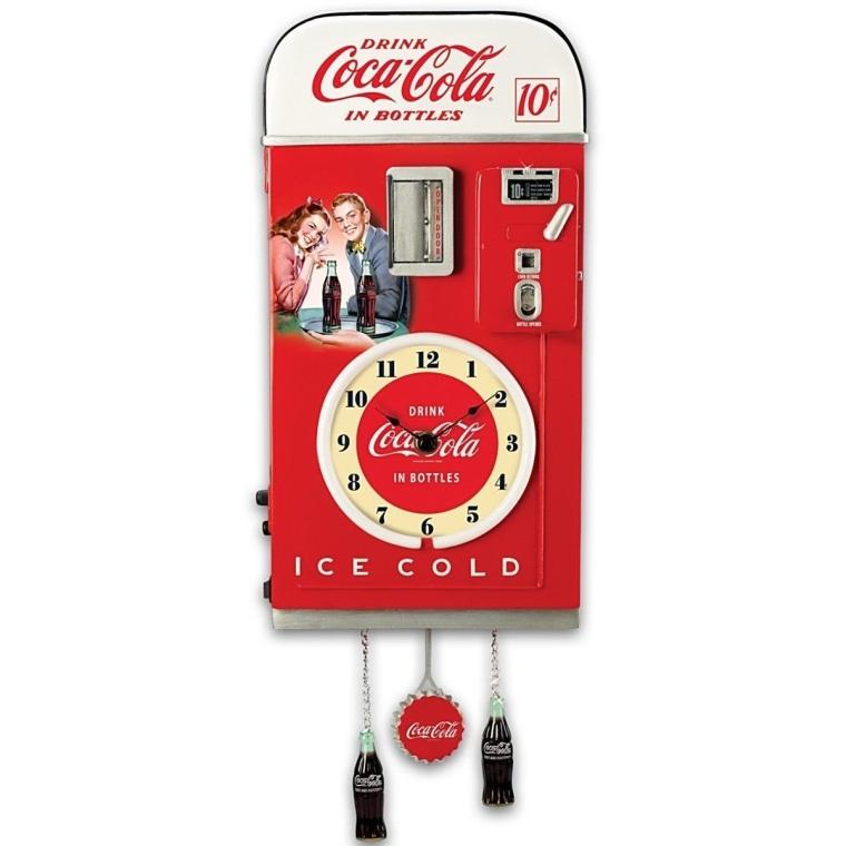 Coca Cola 1950s Style Vending Machine Illuminated Wall Clock