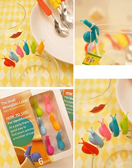 Snail Wineglass Label for Hanging Tea Bag Colorful Snails Clip Silicon