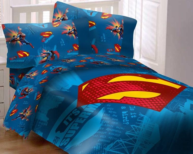 Superman Emblem 4 Piece Reversible Super Soft Luxury Twin Size Comforter Set