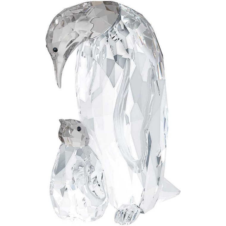 Swarovski Penguin Mother with Baby Figurine