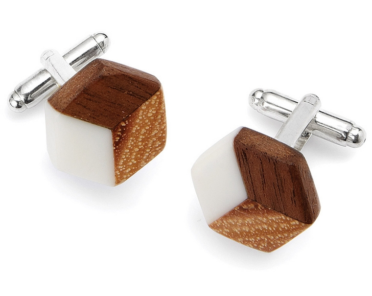 wood isometric cufflinks