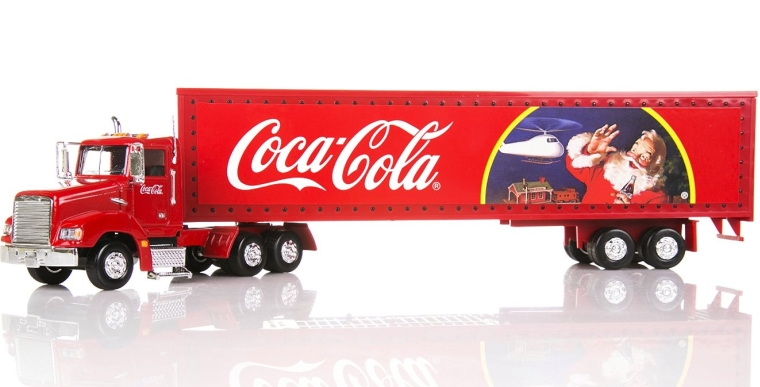 Coca Cola Christmas Truck With Light Up Trailer
