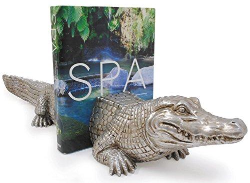 Crocodile Novelty Decorative Stone Resin Bookend Set