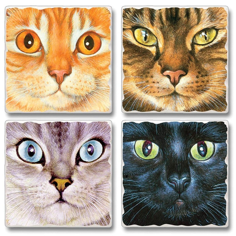 Feline Kitten Cat Face Absorbent Stone And Cork Back Coasters Set