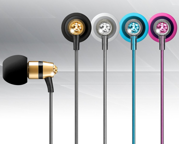 In-Ear Headphones with Microphone Made with Swarovski Crystals