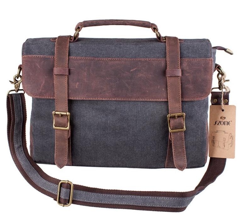 Vintage Canvas Leather Messenger traveling Briefcase