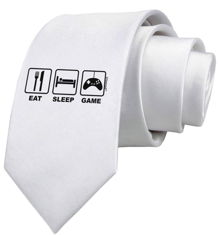 Eat Sleep Game Design Printed White Neck Tie