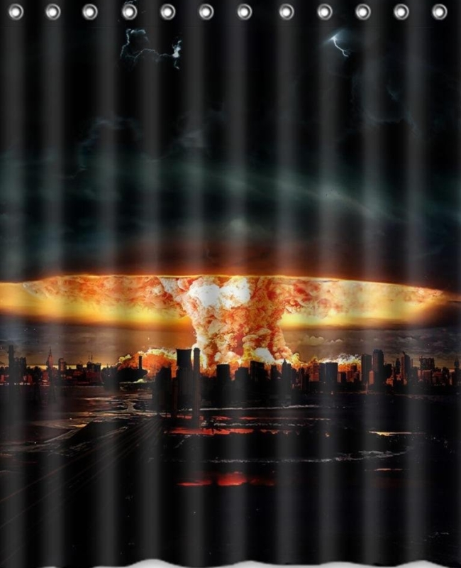 Explosion Bomb City Night High Quality Fabric Bathroom Shower Curtain