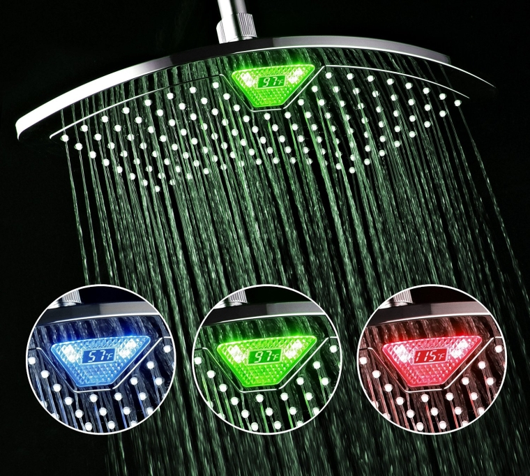 Rainfall Shower Head with Color-Changing LEDLCD Temperature Display