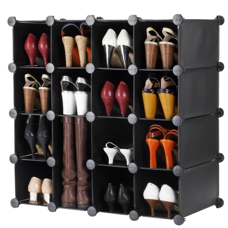 16x Interlocking Black Shoe Storage Organizer